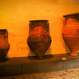 ancient pottery by Lena Block - Artistic Objects Antiques ( ancient, artistic, pottery, display, golden,  )