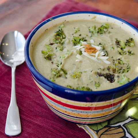 Roasted Broccoli and Garlic Soup with Cheddar