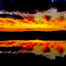 Reflection from the fountain by Lynnie Taylor - Landscapes Cloud Formations ( sunset, water image, vibrant colours )