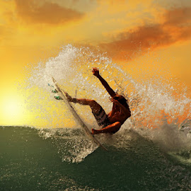 Sunset Swing by Alit  Apriyana - Sports & Fitness Surfing