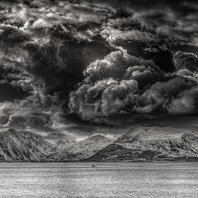 Stormclouds by Benny Høynes - Landscapes Cloud Formations ( clouds, winter, snowstorm, black and white, weather, bad, landscapes, boat, storm )