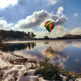 Up Up and Away by James Holdsworth - Landscapes Waterscapes ( ball, reflection, snow, cloud, lake )