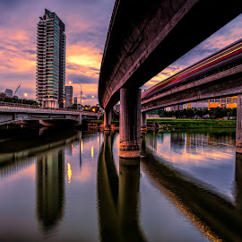 Morning Express  by Gordon Koh - Buildings & Architecture Bridges & Suspended Structures ( water, reflection, train, bridge, city,  )