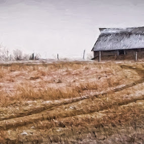 Kansas Barn by Allen Crenshaw - Painting All Painting ( farm, barn, snow, art, scenic, kansas, painting )