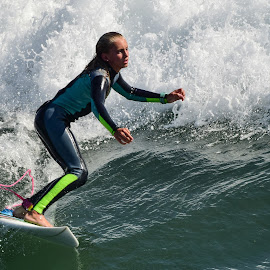 HB Surfer by Jose Matutina - Sports & Fitness Surfing ( water, girl, surfer, orange county, california, wave, sea, sport, ocean, huntington beach, united states )