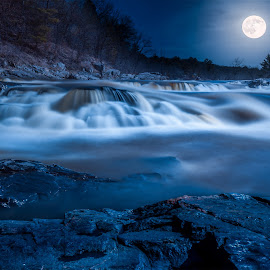 Moonlit Falls by Andrea Wolfe - Digital Art Places
