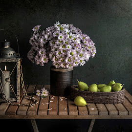 Candlelight  by Margareth Perfoncio - Artistic Objects Still Life ( candle, textures, pears, flowers, light )