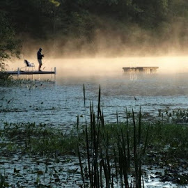 Fisherman at Dawn by Holly Hatcher - Uncategorized All Uncategorized ( #lakelife, #morethanonereasontogetupatdawn, #wisconsinmornings, #fishingatdawn, #dawnisforlovers )