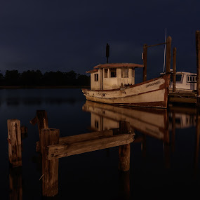 Night Relections by Shutter Bay Photography - Transportation Boats ( night photography, night scene, boats, reflections, slow shutter, nightscape )