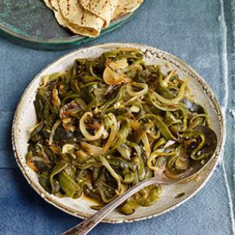 Roasted Poblano Chiles with Onion (Rajas)