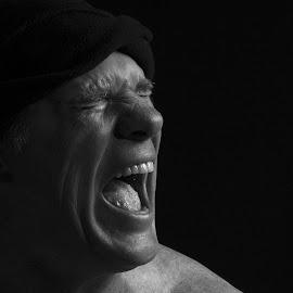 Shout out Loud by Chris Coetzee - People Portraits of Men ( anger, pain, shout, emotion, frustration )