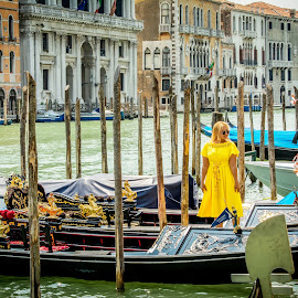 Gondolas For Rent by T Sco - Transportation Boats ( venice, post, person, boats, canal, girl, europe, water, people, italy, boat, gondola )