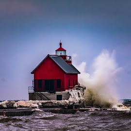 Grand Haven by Darrin Ralph - Buildings & Architecture Other Exteriors ( water, red, waves, lighthouse, sea, lake )