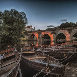 Durham Boats by Adam Lang - Transportation Boats ( durham, boathouse, boats, bridge, river )