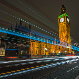 Big Ben Light Trails by Chris Cooper-Mitchell - Buildings & Architecture Public & Historical ( parliament, london, long exposure, westminster, cityscape, big ben, nikon, nightscape, city, city at night, street at night, park at night, nightlife, night life, nighttime in the city )