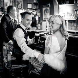 Cheers! by Paul Duane - Wedding Bride & Groom ( ireland, guinness, vintage, wedding, wedding dress, wedding photographer, bride, groom )