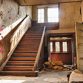 A former tax office in Belgium. by Roger Hamblok - Buildings & Architecture Decaying & Abandoned ( doors, stair, hdr, way up, destruction, door, belgium, up, urban, urbex, stairs, stairway, destroyed, rubbish, graffiti, staircase, glass, upstairs, abandoned, decay,  )