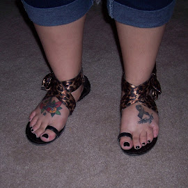 Sandals  by Sandy Stevens Krassinger - People Body Art/Tattoos ( toenails, tattoos, feet, bows, sandals,  )