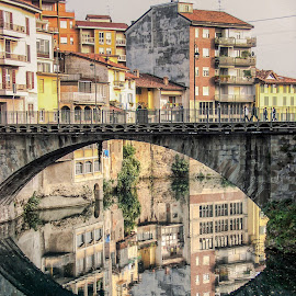 Bergamo Bridge II by Richard Doyle - Buildings & Architecture Bridges & Suspended Structures ( reflection, bergamo, bridge, italy, colours )