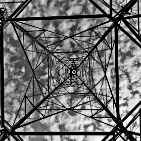 Tower by Bill MacLachlan - Buildings & Architecture Architectural Detail ( clouds, sky, black and white, electric, power )