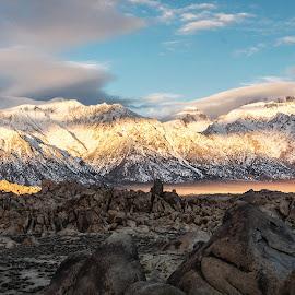 Sunrise at the Sierra Nevada by Richard Michael Lingo - Landscapes Sunsets & Sunrises ( mountains, sierra nevada, california, sunrise, landscape )