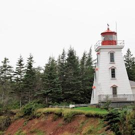 Cape Bear Lighthouse by Janice Burnett - Buildings & Architecture Public & Historical ( prince edward island., red, canada, white, lighthouse, beacon )