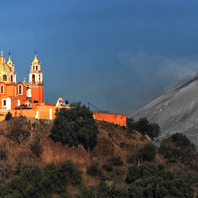 Volcano and Church by Cristobal Garciaferro Rubio - Buildings & Architecture Other Exteriors ( cholula, ash, church, mexico, puebla, popocatepetl )