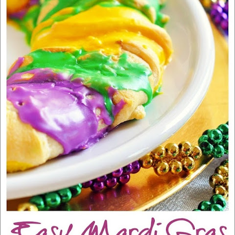 Easy Mardi Gras King Cake with Cream Cheese Cinnamon Filling