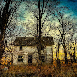 Abandoned in Clearfield by Kendra Perry Koski - Digital Art Places ( 2017, home, dakotawindsphoto.com, texture, spooky, clearfield, ghost town, south dakota, us, house, autumn, fall, trees, dakota winds photography, abandoned )