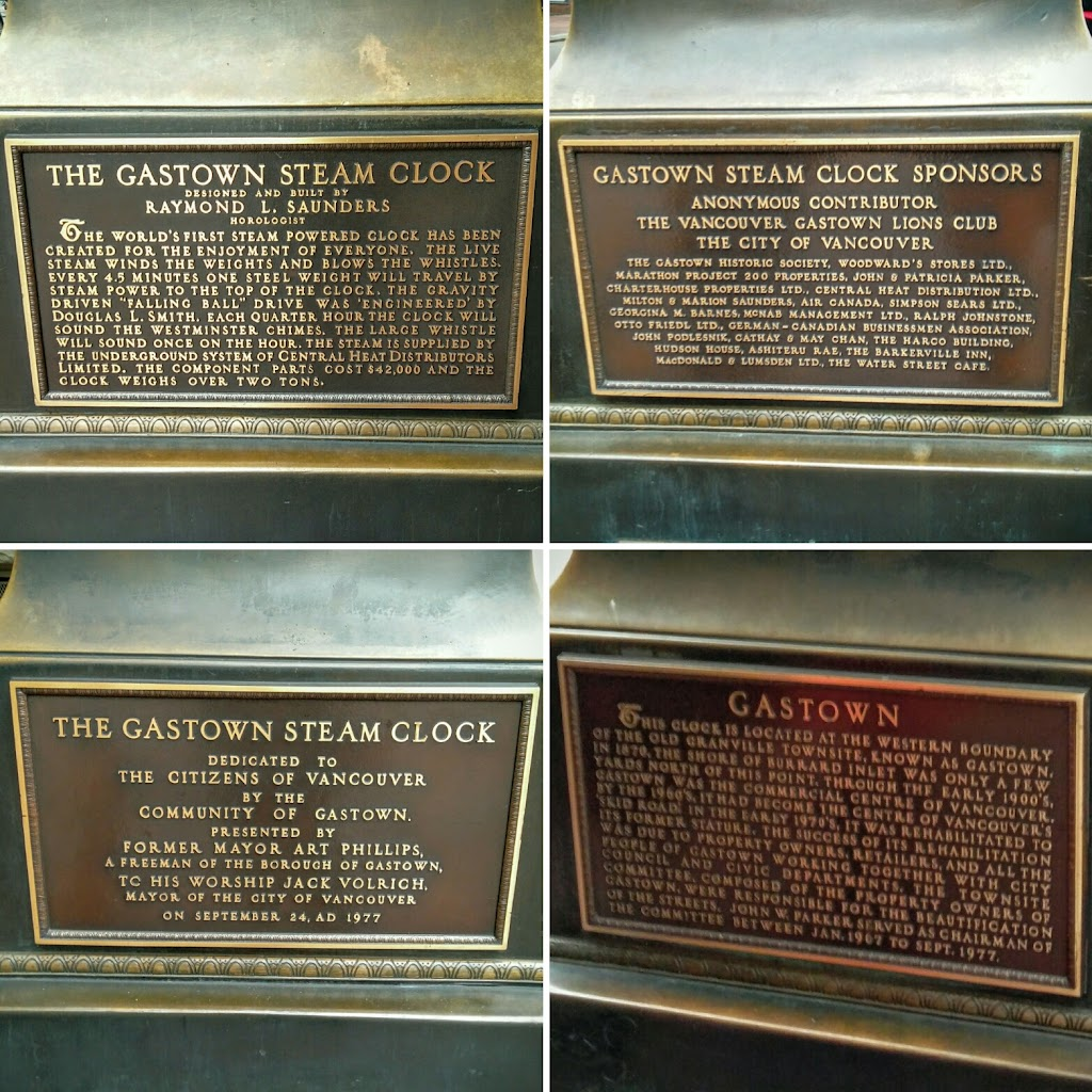 There are plaques on each side of the base of the clock.   North side: The Gastown Steam Clock Designed and built by  Raymond L. Saunders  Horologist The world's first steam powered clock has been ...