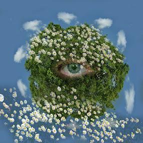 Our Earth by Zenonas Meškauskas - Digital Art Abstract ( clouds, planet, sky, earth, eye )