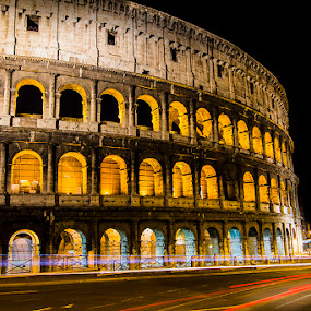 by Paul Scullion - Buildings & Architecture Public & Historical ( colour, old, colosseum, building, rome, night, italy, , landmark, travel, lights, garyfonglandscapes, holiday photo contest, photocontest )