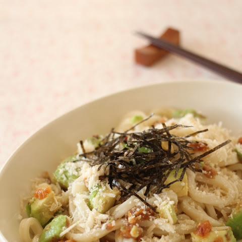 Japanese Cheese Udon Noodle with avocado and Umeboshi
