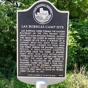 Las Boregas Creek formed the eastern boundary of the 1794 Spanish land grant to Juan Ignacio Pifermo, making this grant the oldest in Sabine County. El Camino de los Tejas, a portion of El Camino ...