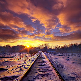Going Somewhere by Phil Koch - Transportation Railway Tracks ( vertical, rails, arts, travel, love, sky, nature, shadow, snow, train, weather, light, trending, colors, twilight, art, white, mood, horizon, journey, portrait, rural, country, winter, dawn, environment, season, serene, outdoors, popular, lines, natural, inspirational, hope, canon, wisconsin, railroad, joy, landscape, sun, photography, life, emotions, dramatic, horizons, inspired, clouds, office, heaven, beautiful, tracks, scenic, living, morning, shadows, field, fineart, blue, unity, sunset, peace, meadow, sunrise, earth,  )