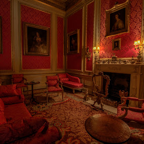 The Red Room by Corin Spinks - Buildings & Architecture Homes ( sofa, red, settee, chairs, belton house, low light, paintings, furniture, room,  )