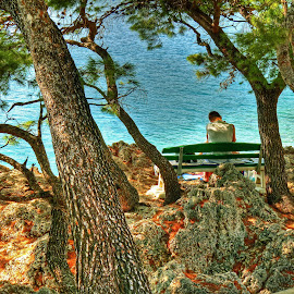Relaxing Place (1) by Michael Lobisch-Delija - Landscapes Beaches ( water, adria, person, croatia, sea, trees, brela, rest, relaxation, stones, relax, tranquil, relaxing, tranquility )