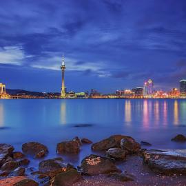 City of Macau, a city that never sleeps by Juanito Bumactao - City,  Street & Park  Skylines ( lights, colors, blue hour, beautiful, cityscape, city,  )