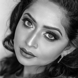 Anusha by Paul Phull - People Portraits of Women ( black and white, beautiful, lips, portrait, eyes )
