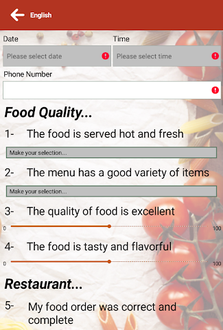 android SA RESTAURANT SURVEYS Screenshot 2