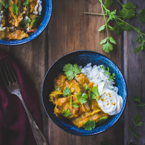 Curried Roasted Eggplant with Smoked Cardamom and Coconut Milk