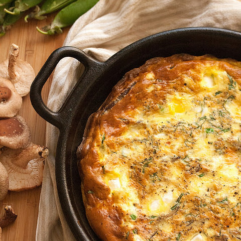 Early Summer Frittata with Peas, Garlic Scapes and Shiitakes
