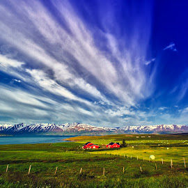 two red cabins by Stanley P. - Landscapes Cloud Formations ( landscapes )