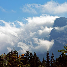 Clinging to the mountain by Rhonda Tucker - Landscapes Cloud Formations ( clouds, national park, mountain, many glacier sept 2015, landscape )