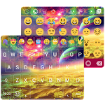 Gold Neon Emoji Keyboard Theme Icon