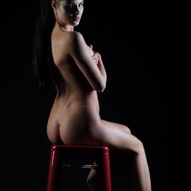 by DJ Cockburn - Nudes & Boudoir Artistic Nude ( sitting, nude, izabela, woman, stool, brunette )