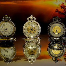 Three Amigos by Shawn Thomas - Artistic Objects Still Life ( timepiece, reflection, pocket watch, time, sunset, watch, antique )