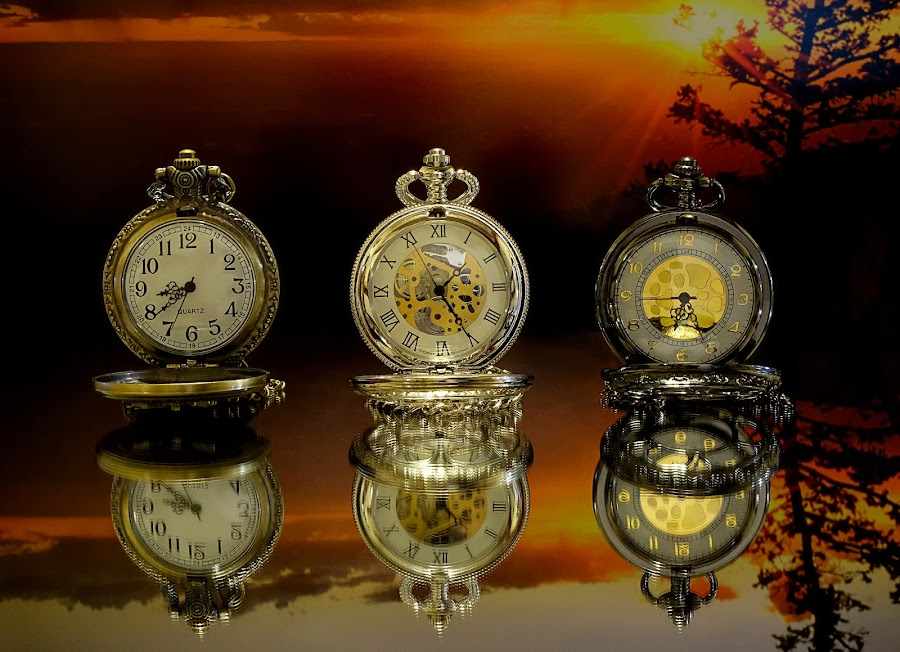 Three Amigos by Shawn Thomas - Artistic Objects Still Life ( timepiece, reflection, pocket watch, time, sunset, watch, antique,  )