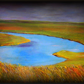 The river by Vesna Disich - Painting All Painting ( pastel, nature, blue, art, river )
