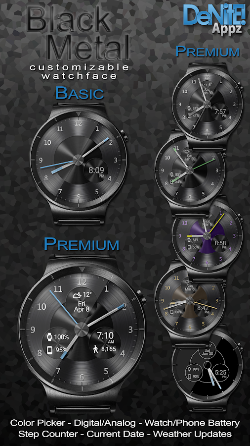 Black Metal HD Watch Face Screenshot 0